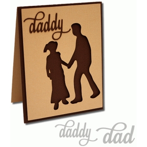 father and girl silhouette a2 card