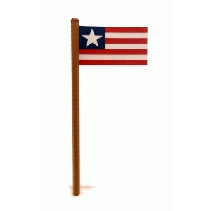 3d flagpole and flag one star