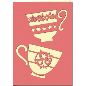 two for tea 7x5 cutout card