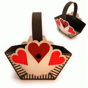 hearts mini handle favor basket