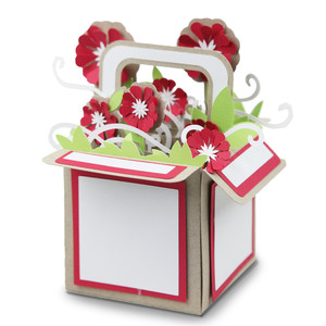 red flower explosion basket
