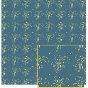blue with gold pattern