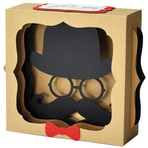 bowler & moustache gift card box