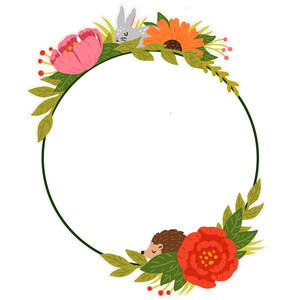 floral circle frame with woodland animals