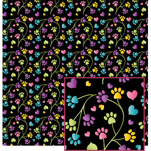 colorful paw print pattern