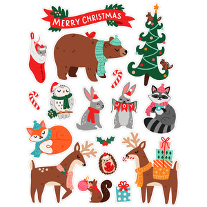 christmas woodland animal stickers