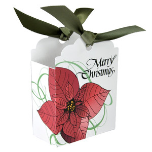 merry christmas red poinsettia tag gift box