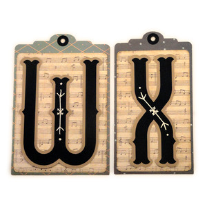 initial w x stitched pocket tag or card