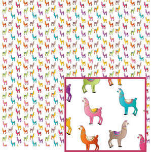 llama pattern on white
