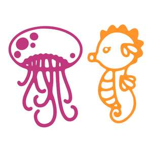 underwater animals - jellyfish and seahorse