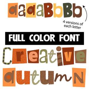 creative autumn color font