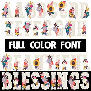 beautiful blessings color font