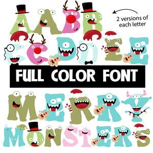 merry monsters color font