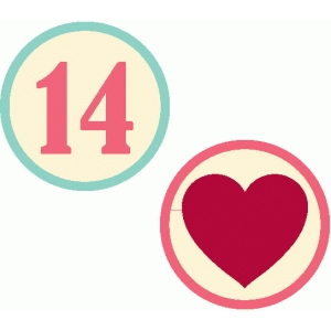 set of 2 valentine stickers / embellishments