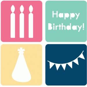 set of 4 birthday icons