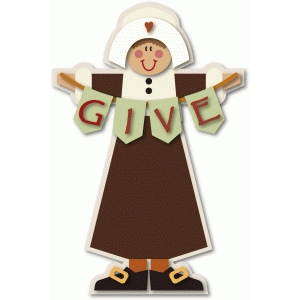 pilgrim girl figure with give banner