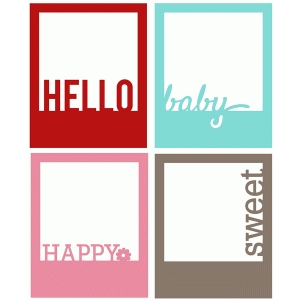 hello polaroid frame set of 4