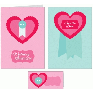 layered hearts wedding stationery set