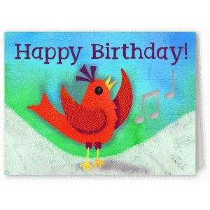 happy birthday bird with music card