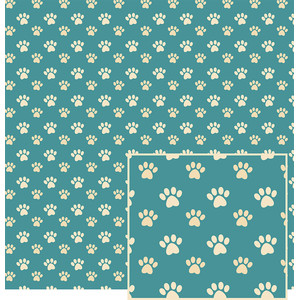 paw print pattern on teal