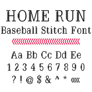 home run baseball stitch font