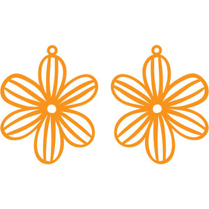 lined flower earrings