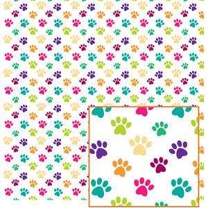 colorful paws pattern