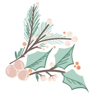 pastel winter greenery
