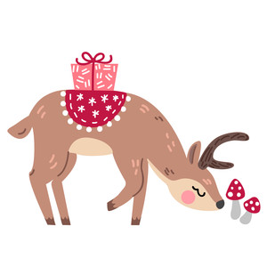 christmas deer with mushrooms