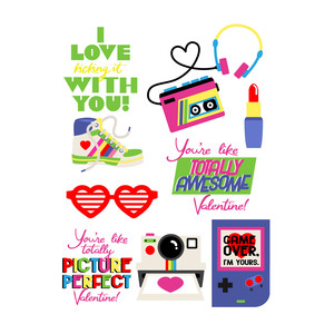 80's love stickers