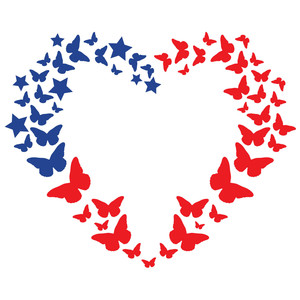 butterfly flag heart