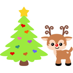cute reindeer and christmas tree