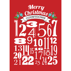 advent modern numbers print 8x10 red
