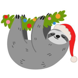 christmas sloth with santa hat