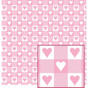 pink and white w/hearts buffalo plaid pattern