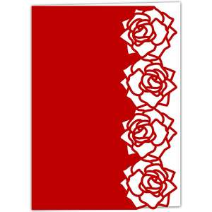 fresh roses lace edged card