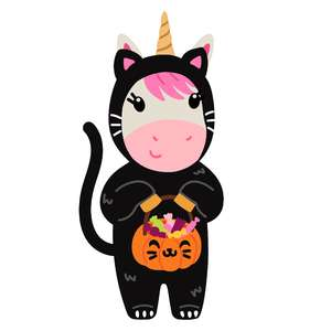 halloween unicorn in cat costume