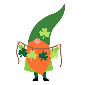 gnome with shamrock garland