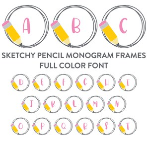 sketchy pencil monogram frames full color font