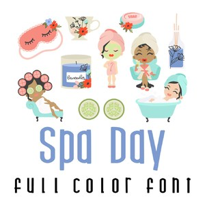 free with purchase - spa day full color font