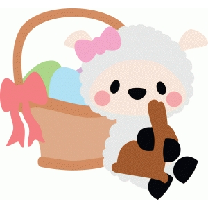 lamb sitting by a basket