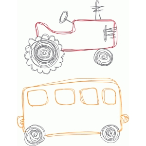 tractor and bus sketch