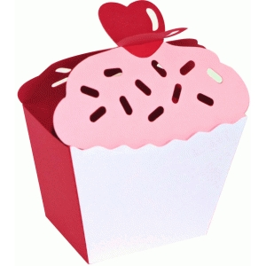 'heart on top' 3d cupcake box