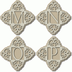 ornate monogram mnop