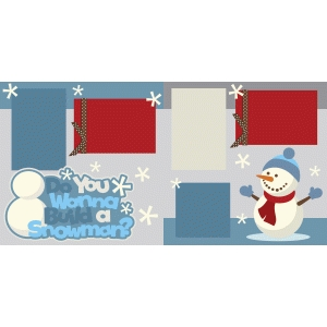 winter snowman 2 page scrapbook kit