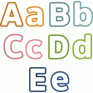 outline block letters a-e