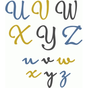 simple elegant alphabet u-z