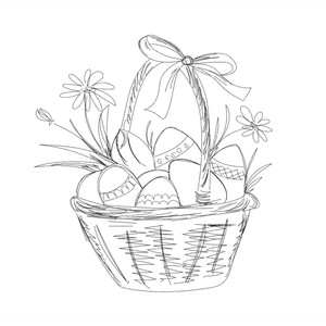 easter basket sketch