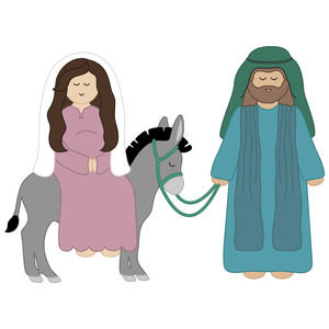 mary riding donkey with joseph nativity