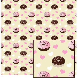 donuts and hearts pattern